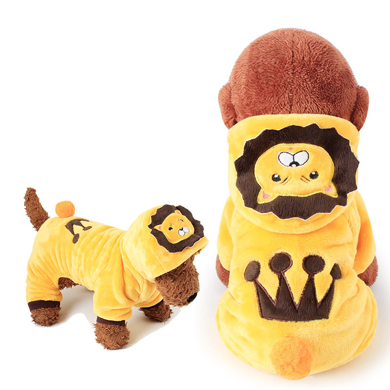 Warm Fleece Lion King Pet Costume Dog Suit Clothes for Small Dogs Cats Yellow Puppy Dog Hoodies Jumpsuit for Cold Weather XS-XL