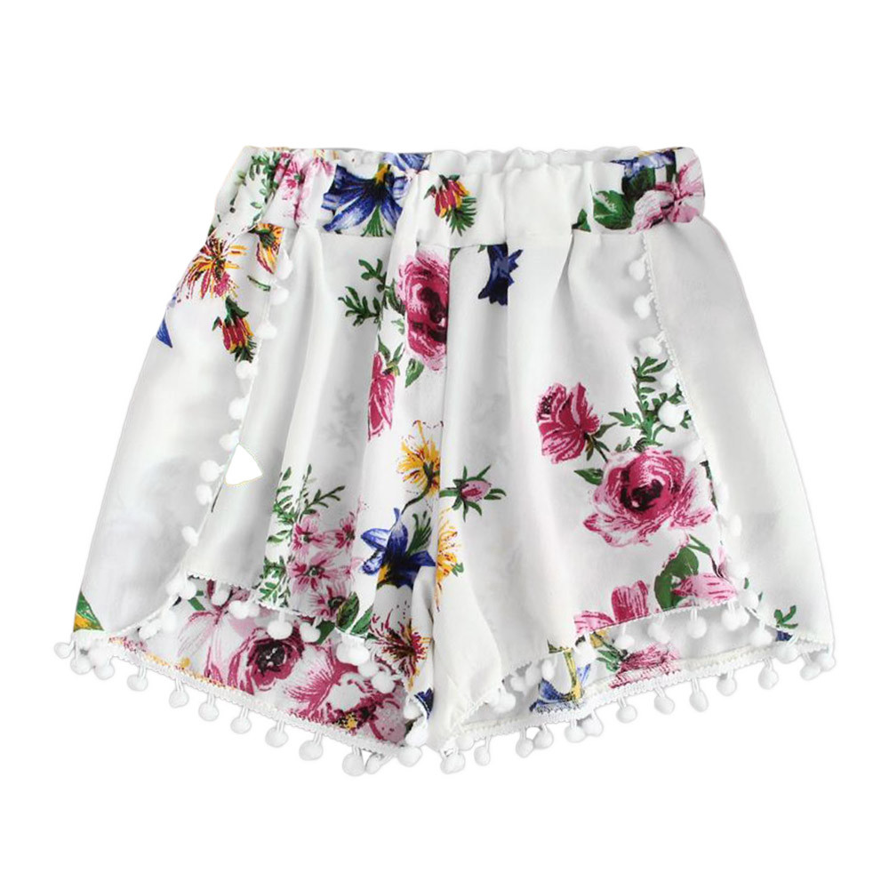 Summer Beach Floral Loose Shorts Womens Lace Printing Mid Waist Elastic Waist Ringer NEW Fashion Hot Casual Shorts N4