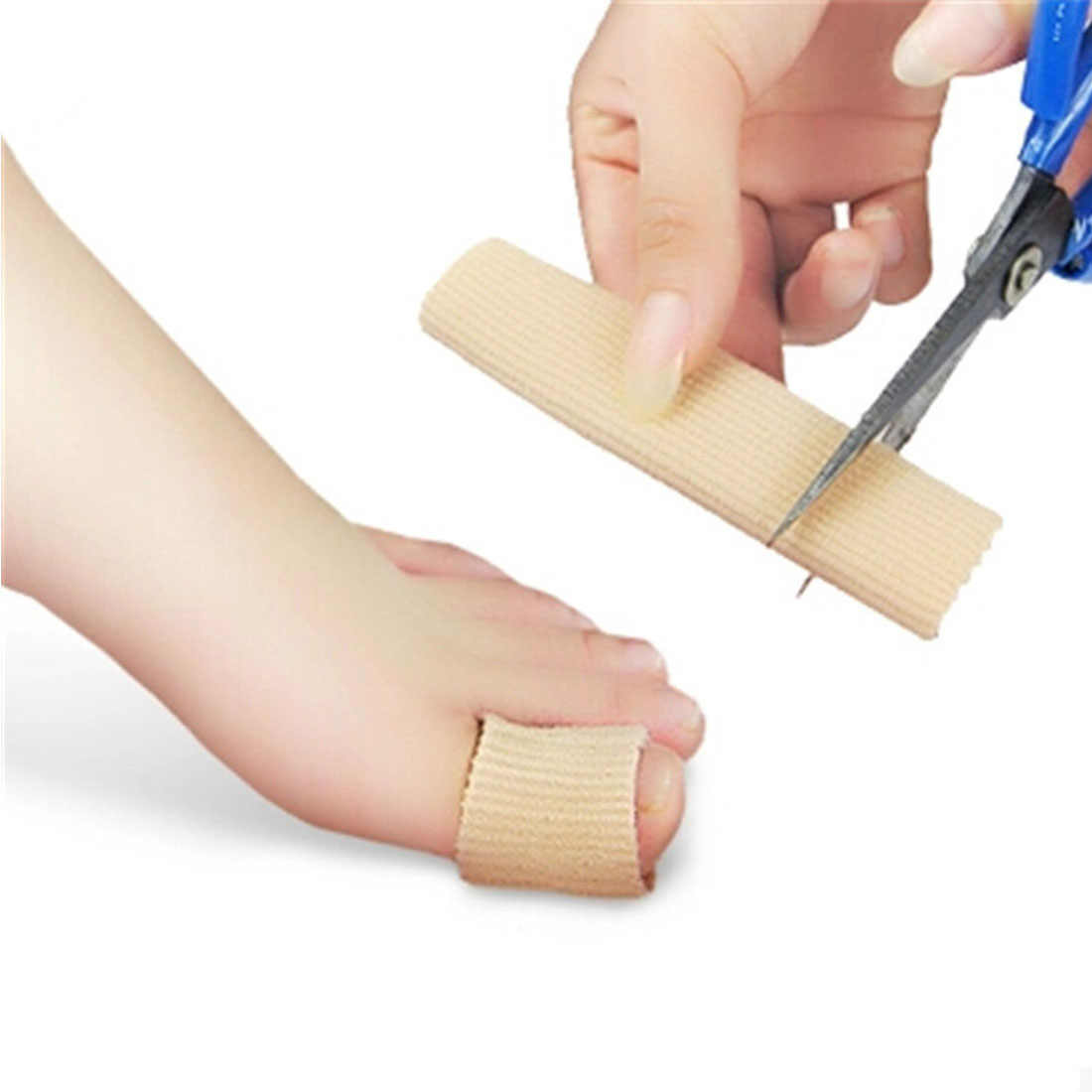 Top 1pc 15cm Fabric Gel Tube Ribbed Bandage Fingers and Toes Protector Foot Hands Pain Relief Cover for Corns Feet Pedicure Tool