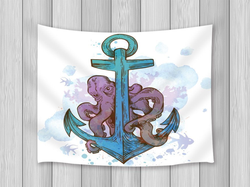 Vintage Decor Tapestry Hand Drawn Vector Anchor And Octopus On A Blue Watercolor Backgro ...