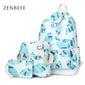 ZENBEFE 3 Pcs/Set Women Backpack Fresh Printing Backpack Multifunction Backpacking School Bag For Teenage Girls Daypack Rucksack