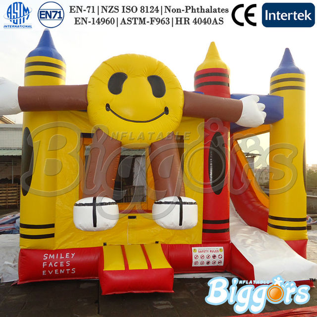 Smile Face Hot Sale Commercial Inflatable Bounce House With Slides