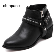 cb apace New Winter Autumn Women Boots High Heel Martin Boots Buckle Gothic Punk Ankle Motorcycle Combat Pointed Toe Boots
