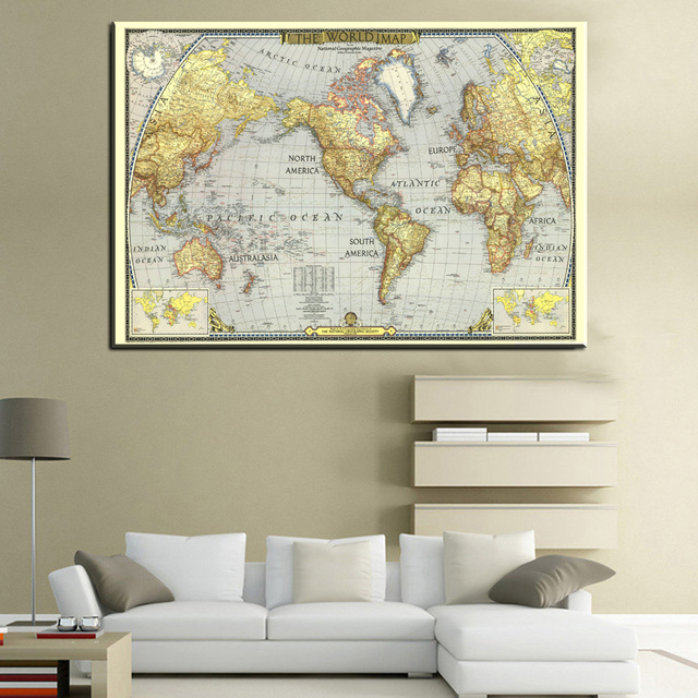 aliexpress com buy xll211world map painting canvas prints large