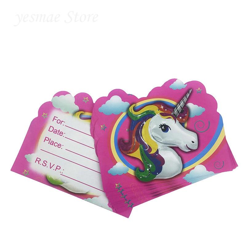 10PCS Kids Birthday Party Decoration Cartoon Unicorns Theme Invitation Card Baby Shower Baptism Gift