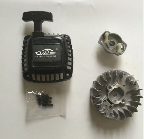 Easy start pull starter and Flywheel with Claw for 1/5 hpi baja 5B 5T 5SC losi 5ive-T rc car parts rovan gas baja 30 5cc 4 bolt chrome engine with walbro carb and ngk spark plug for 1 5 scale hpi km losi rc car parts