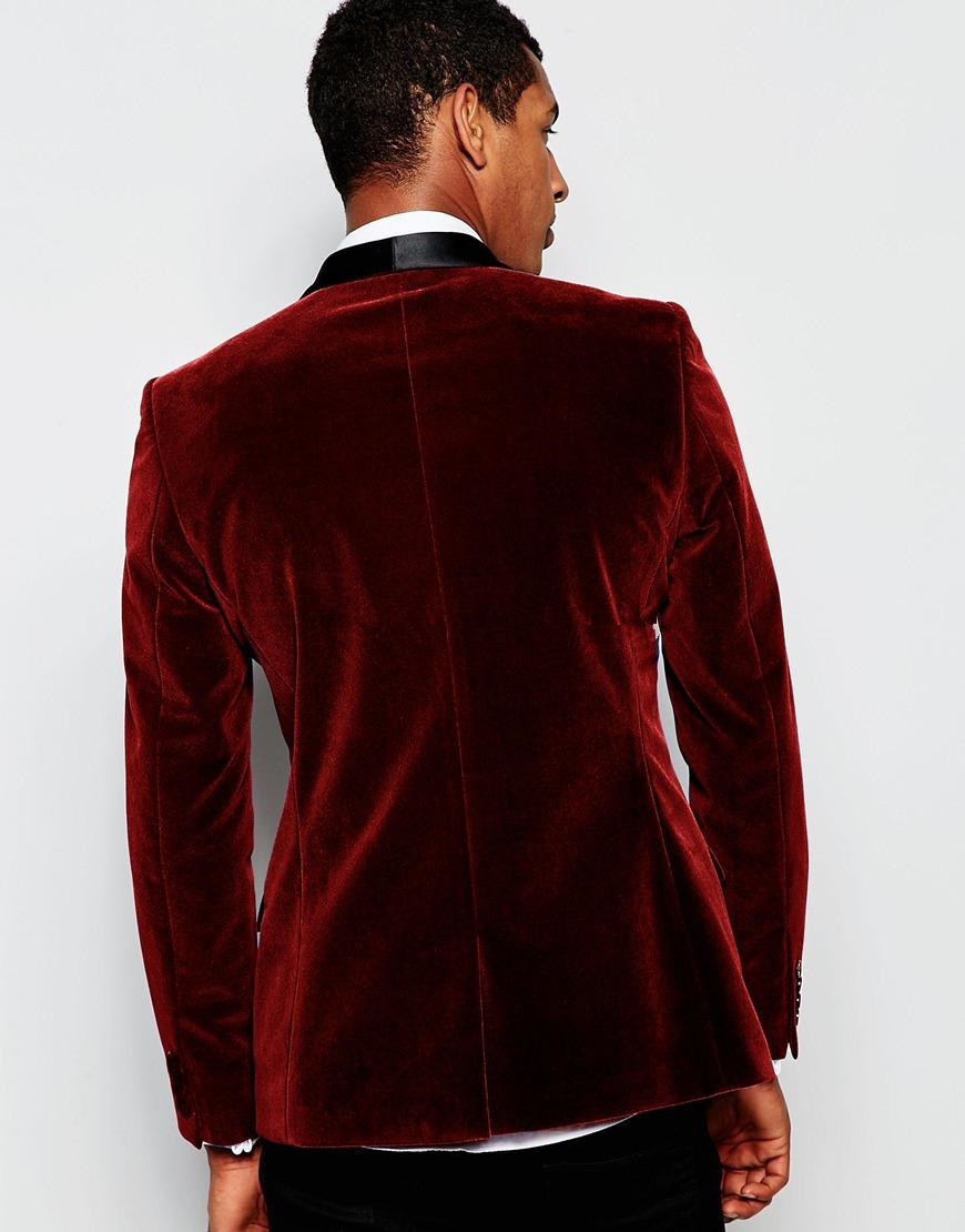 jacket Velvet Slim Jacket As Tuxedos Picture Burgundy Groom custom Lapel Mens Pants Custom Wedding Pants Fit Shawl Same Made 2016 Color Black Suits w4taq5Cx