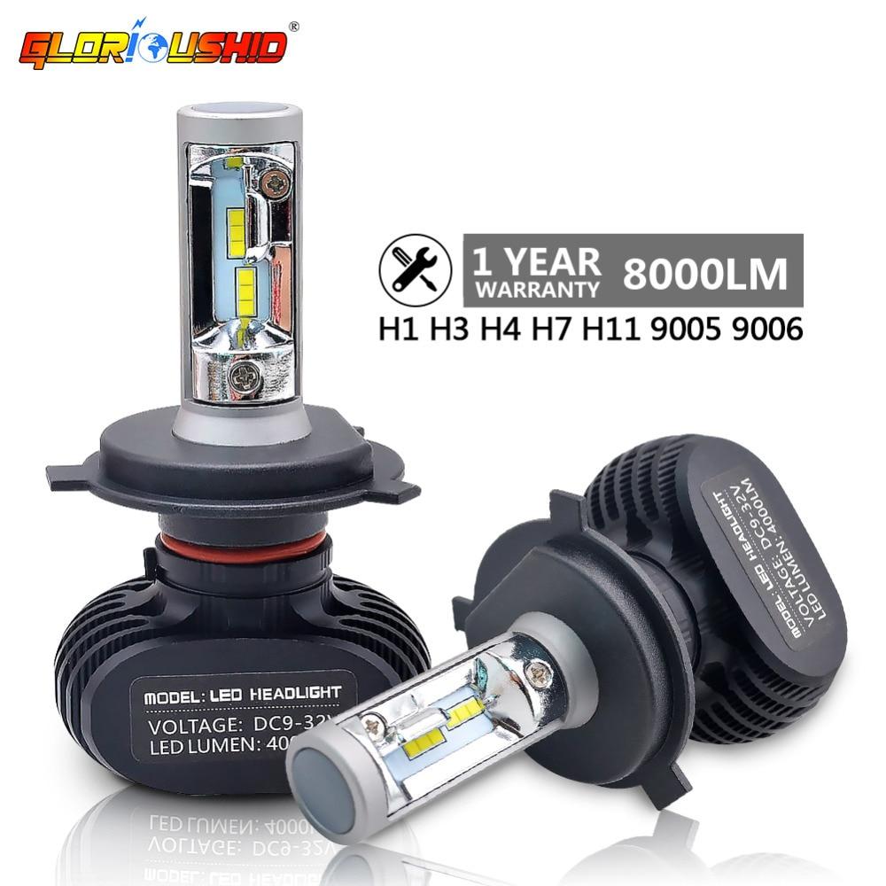 2pcs H7 Led H4 H11 H8 H9 H1 H3 9005 9006 Car LED Headlight Auto fog Lamp 50W 8000LM Automobile Bulb Chips CSP 6500K Car lighting