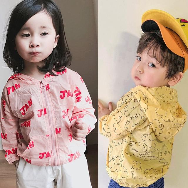3c98d185f Verano de 2019 de algodón con capucha cremallera chaquetas para niñas niños  Bobo estilo bebé prendas