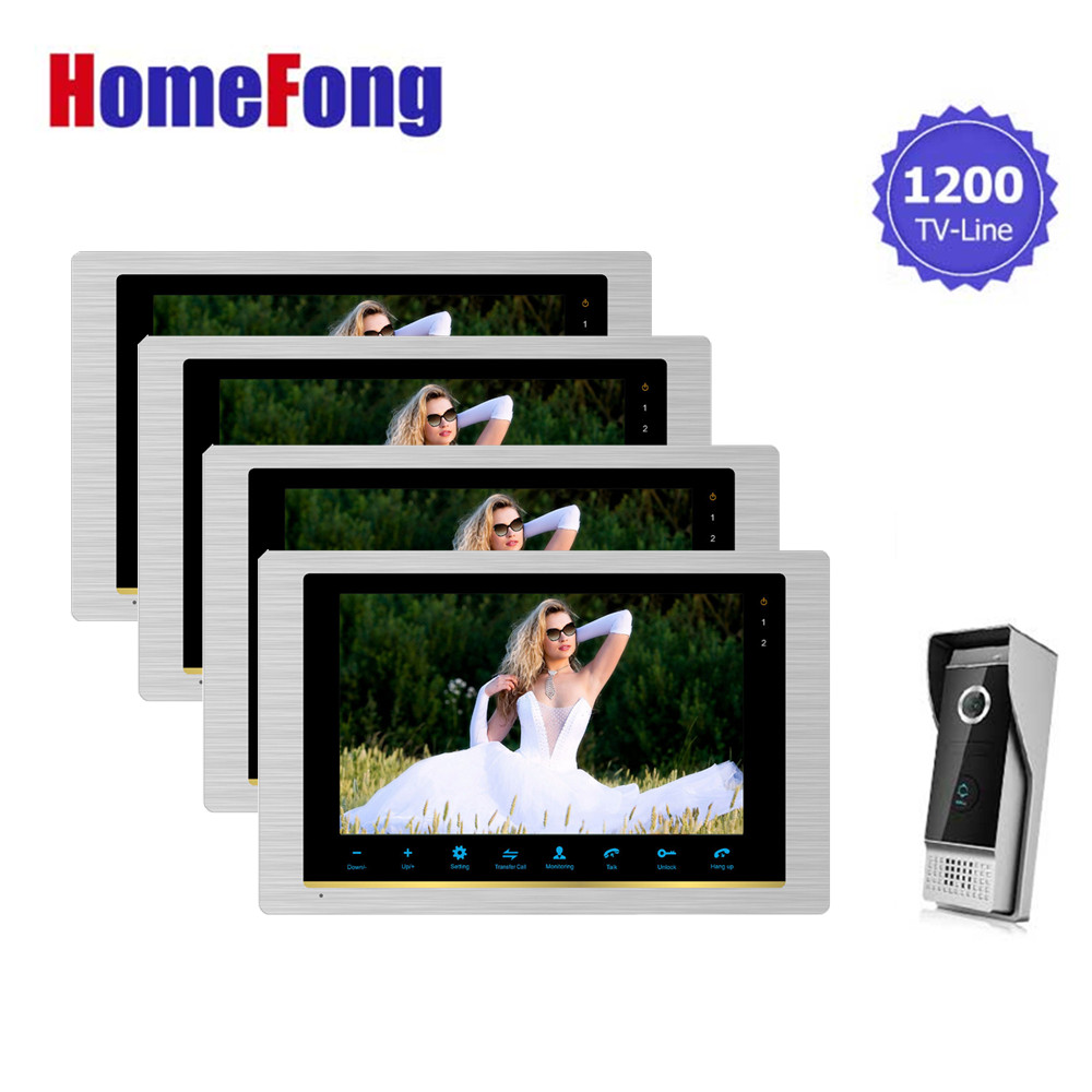 Homefong  Video Door Phone Intercom Doorbell Camera System 10 Inch Large Screen Monitor 4 Indoor Panels and 1 Outdoor Doorbell