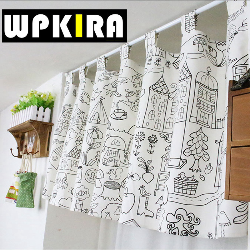 W135cm*H35cm Cartoon Stroke Pattern Small Coffee Curtains Semi Shade Door  Curtains For Kitchen