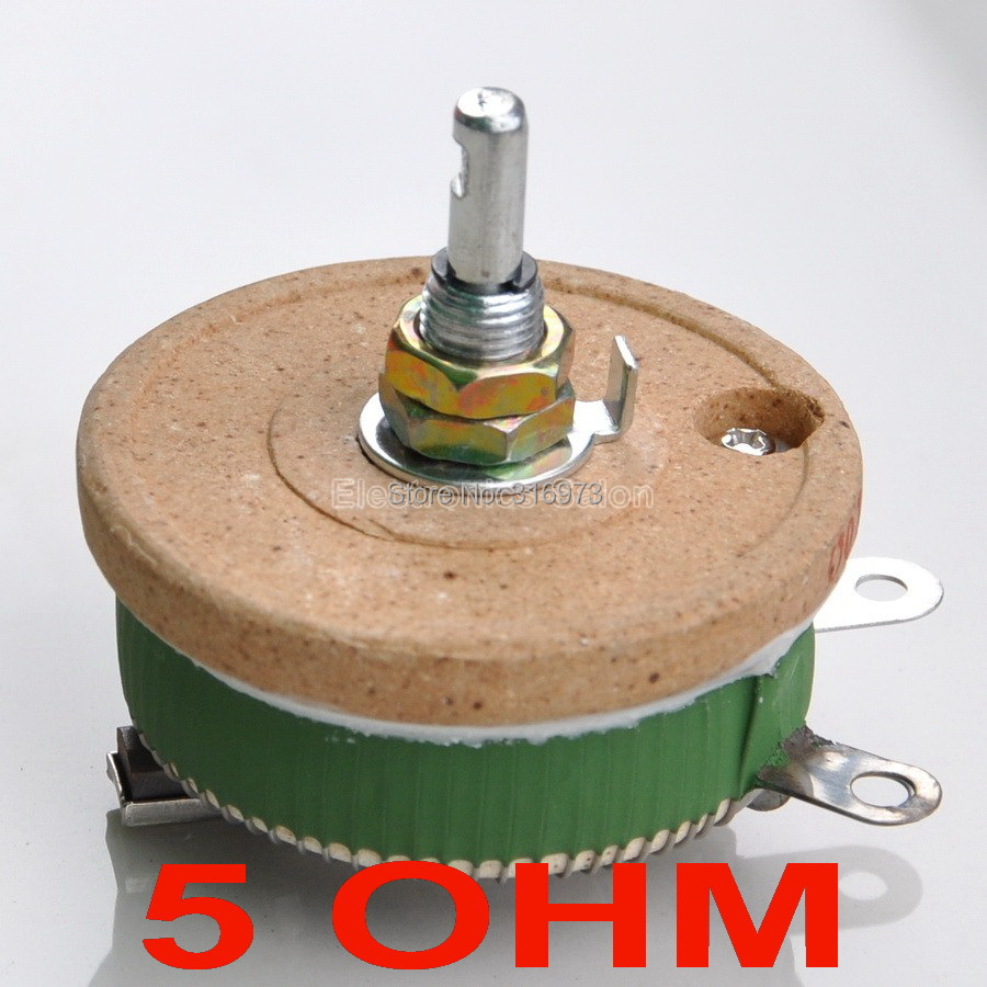 50W 5 OHM High Power Wirewound Potentiometer, Rheostat, Variable Resistor, 50 Watts.50W 5 OHM High Power Wirewound Potentiometer, Rheostat, Variable Resistor, 50 Watts.