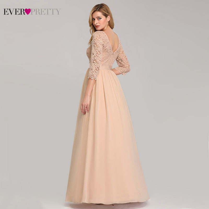 Image 2 - Elegant Lace Bridesmaid Dresses Ever Pretty EP07412 A Line O Neck 3/4 Sleeve Sexy Wedding Guest Dresses Vestido De Festa Longo-in Bridesmaid Dresses from Weddings & Events