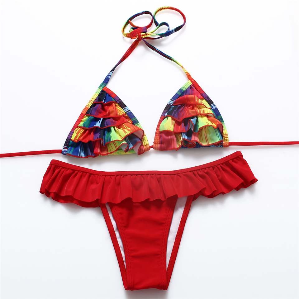 JABERAI Floral Wave Edge Swimwear Women Brazilian Bikini Sexy Thong Swimsuit Halter 2017 Bathing Suit Beachwear Biquini 12Colors