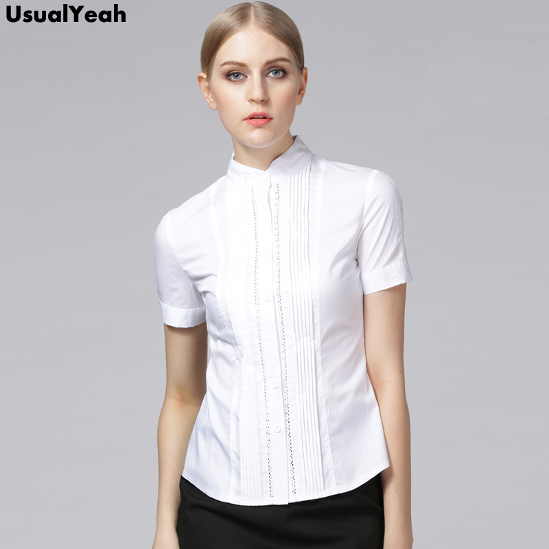 UsualYeah Women Blouses Summer  Elegant Short Sleeve Pleated Cotton Slim Hollow Out Lace Tops Shirts Blue White S - XXL