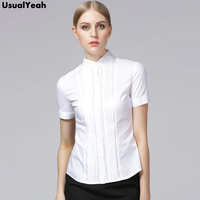 UsualYeah Women Blouses Summer 2018 Elegant Short Sleeve Pleated Cotton Slim Hollow Out Lace Tops Shirts Blue White S XXL