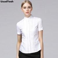 Women Blouses Plus Size Summer 2016 Elegant Short Sleeve Pleated Cotton Slim Hollow Out Lace Tops