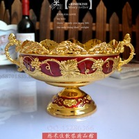 Gold Carved Red Plastic Fruit Plate Fruit Basket Home Furnishing Housewarming Gifts Jewelry KTV Hotel
