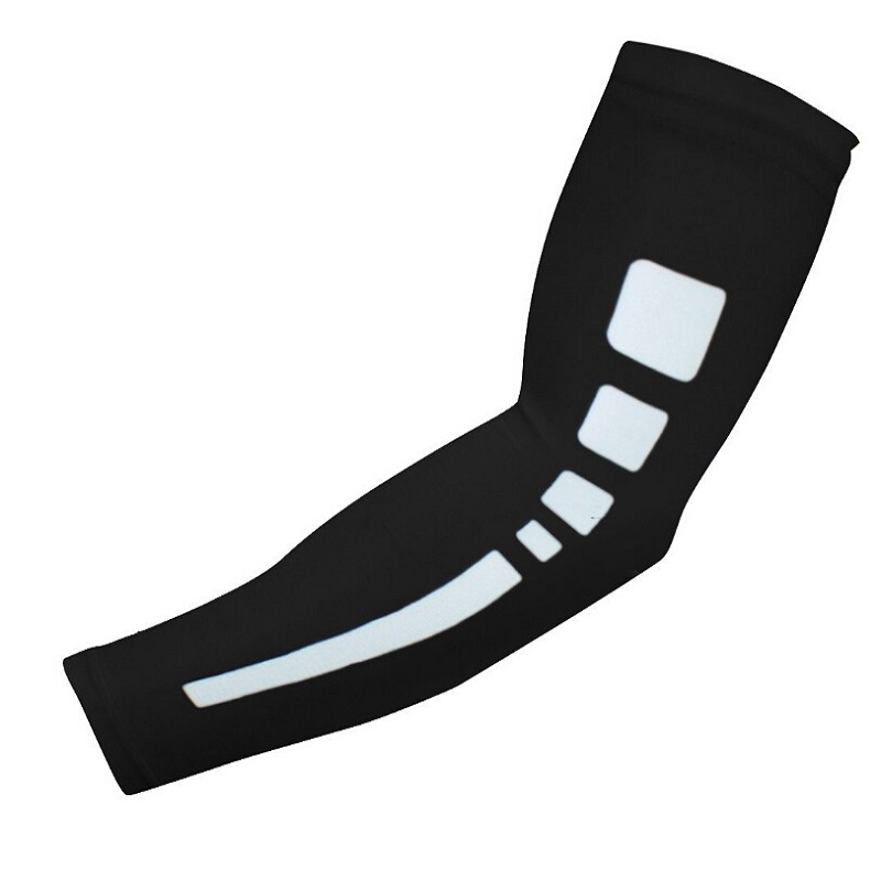 Rational Black White Cycling Sleeve Basketball Shooting Cycling Compression Arm Sleeve Elbow Protector Pad Pads Support Brace Arm Warmers