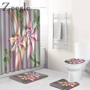 Image 2 - Zeegle Wasserdicht Dusch Vorhang mit Haken Bad Matte Set Saugfähigen Bad Abdeckung Wc Sitz Matte Bad Boden Teppiche