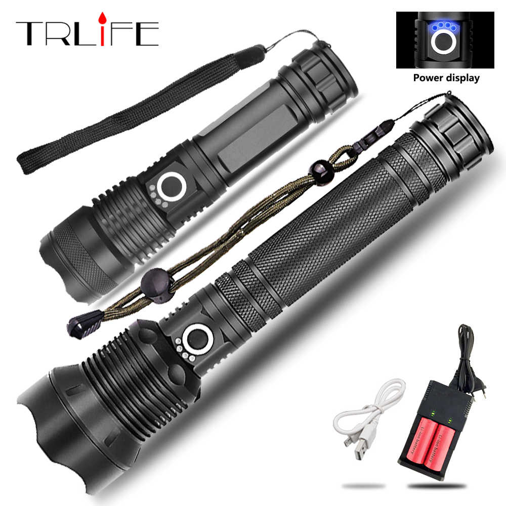 65000LMs Powerful LED Flashlight XHP70 XHP50 Rechargeable USB Zoom Torch XHP70.2 18650 26650 Self Defense Hunting Lamp