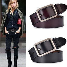 лучшая цена Luxury Designer Belt For Women Brand New High Quality red Genuine Leather strap belts silver Buckle Casual Belt jeans cowskin