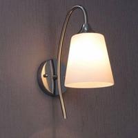 현대 bried 스테인레스 스틸 단일 헤드 벽 램프 유럽 미니멀리즘 홈 인테리어 화이트 유리 침실 led 조명 E27 전구