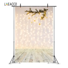 Laeacco Wooden Floor Light Bokeh Branch Star Birthday Photography Backgrounds Customized Photographic Backdrops For Photo Studio