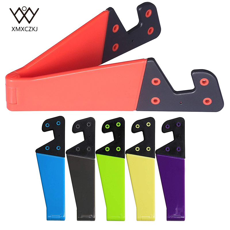XMXCZKJ 1Pcs Universal Desktop Stand Colorful Portable Foldable V model Mobile Phone Mount Holder Stand Cradle For Cell Phone