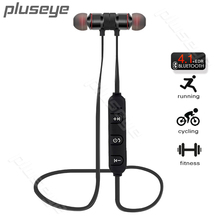 Pluseye Magnética fone de Ouvido Bluetooth Sem Fio Fones de Ouvido Estéreo Esporte fone de ouvido com Microfone para iPhone Xiaomi fone de ouvido