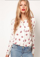New Women Button Red Lip Print Blouse Lady Stand Collar Chiffon T Long Sleeve Shirt White