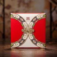 50 unids estilo chino del corte del laser invitaciones de la boda personalizó la impresión de encargo la decoración de la boda