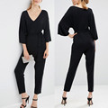 Spring Autumn 2017 Rompers Womens Jumpsuit 3/4 Sleeve V Neck Elegant Playsuits Office Overalls Trousers combinaison femme