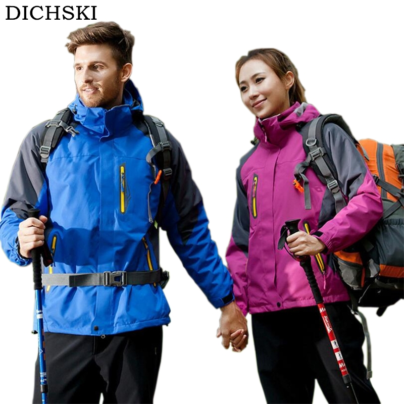 DICHSKI 3 In 1 Winter New Couple Windproof Warm Jackets Men Outdoor Sprots Mountaineering Autumn Waterproof Hooded Jacket Coat free shipping new hot sale winter lover couple outdoor sport 3in1 twinset water windproof skiing mountaineering jackets 160d321d