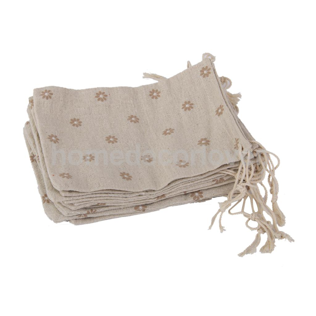 10 Linen Jute Sack Jewelry Drawstring Gift Bags Wedding Favor Coffee ...