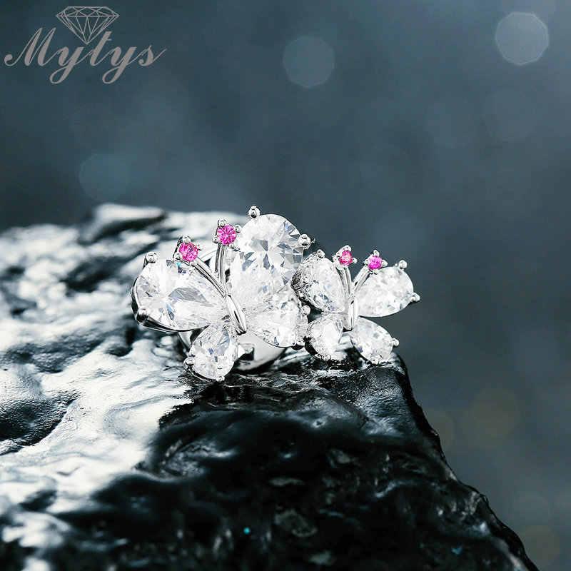 Mytys Double Butterfly Kubik Zircon Musim Dingin Kostum Perhiasan Mewah Bros untuk Wanita Penuh Berlian Imitasi Kerah Pin X345
