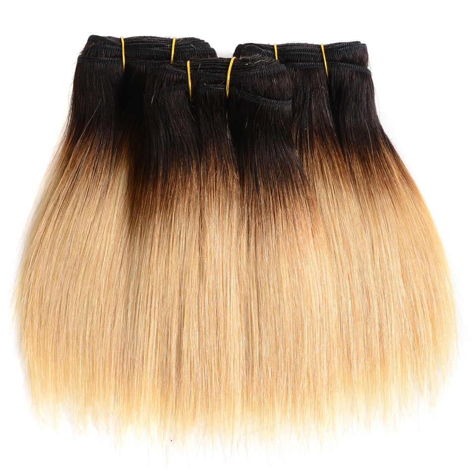 Sexay Ombre Rubio arrancador cabello humano tejido recto 3 paquetes un paquete 1B/27 Rubio brasileño pelo humano recto paquetes de armadura