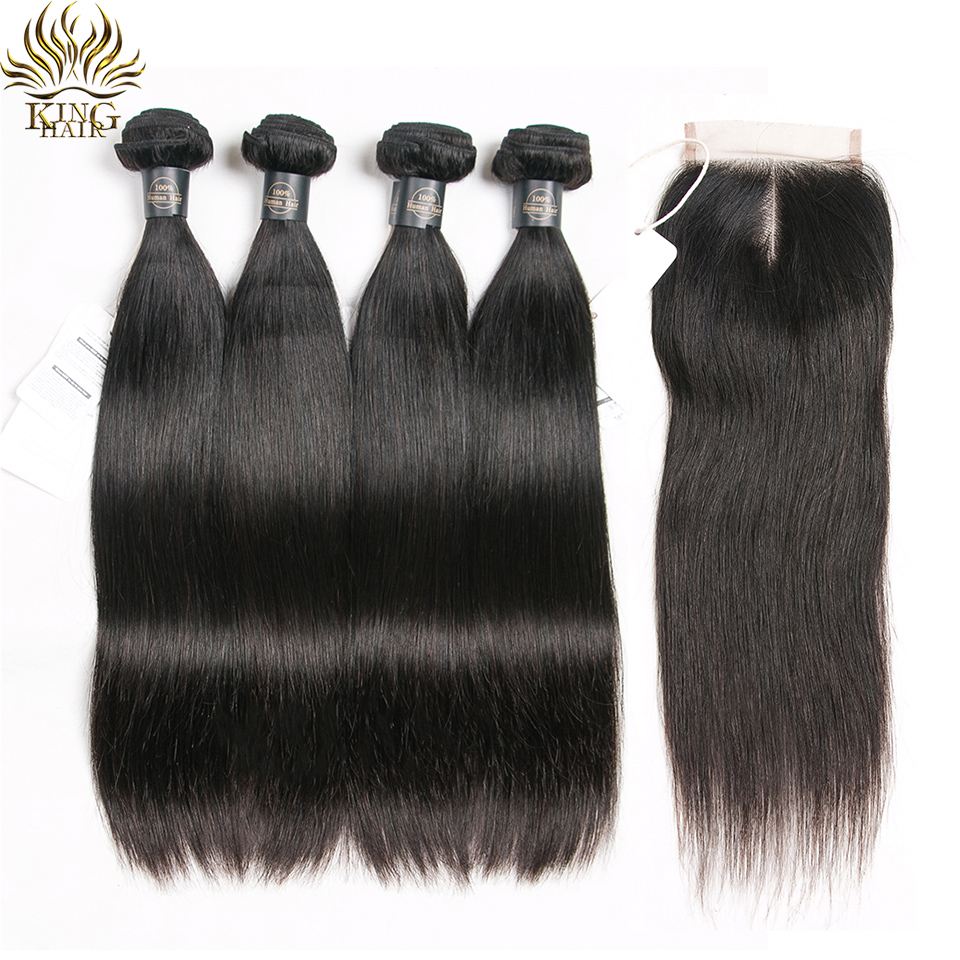 KING Human Hair Bundles With Closure Brazilian Hair Straight With 4x4 Lace Closure 5pcs Bundle Deals Remy Hair Weave Extensions