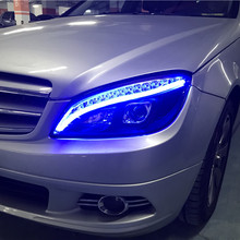 2 шт., автомобильный Стайлинг для Benz W204, фары 2007-2011 C180 C200 C260, светодиодные фары drl H7 hid, биксеноновые линзы ближнего света