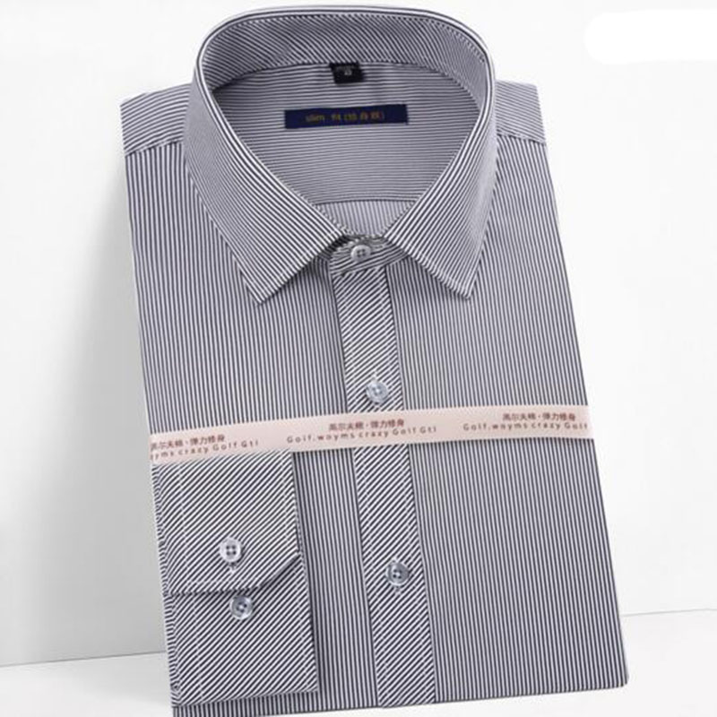 Spring Autmn Hot Sale Men Long Sleeve Pinstriped  Printed Dress Shirt,Square Collar Slinm Fit Wash And Wear Cotton Camisa Blouse
