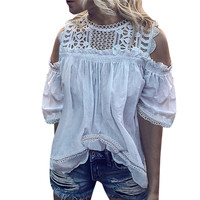 Women Ladies Blouse Hollow Up Lace Shirt Short Sleeve Casual Cold Shoulder Tops Pure White Off Shoulder Summer New 2019 Clothes