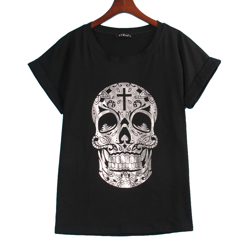 2016 Rock Punk T-shirt Women SILVER SKULL Printed Printing T Shirt Women Tops Fashion Cool Bat Sleeve Tee Shirt Femme