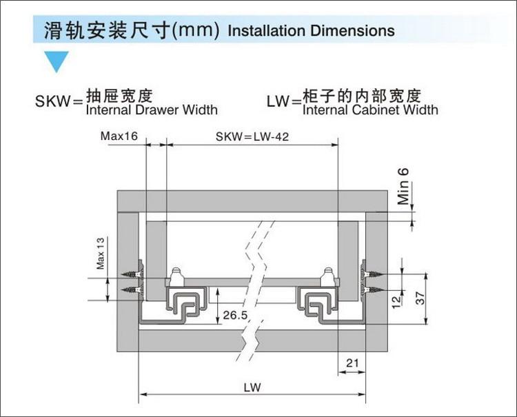 20 500mm Full Extension Under Mount Soft Close Drawer Slide Rail