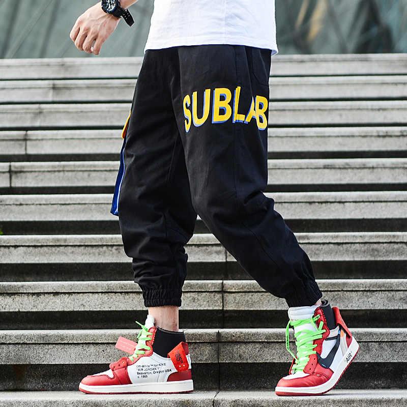 Американский уличный стиль Модные мужские джинсовые тренировочные штаны брюки с литерным принтом большой карман брюки карго Homme Черный Зеленый хип хоп джинсы мужские