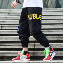 American Street Style Fashion Men's Jeans Jogger Pants Letter Printed Big Pocket Cargo Pants Homme Black Green Hip Hop Jeans Men