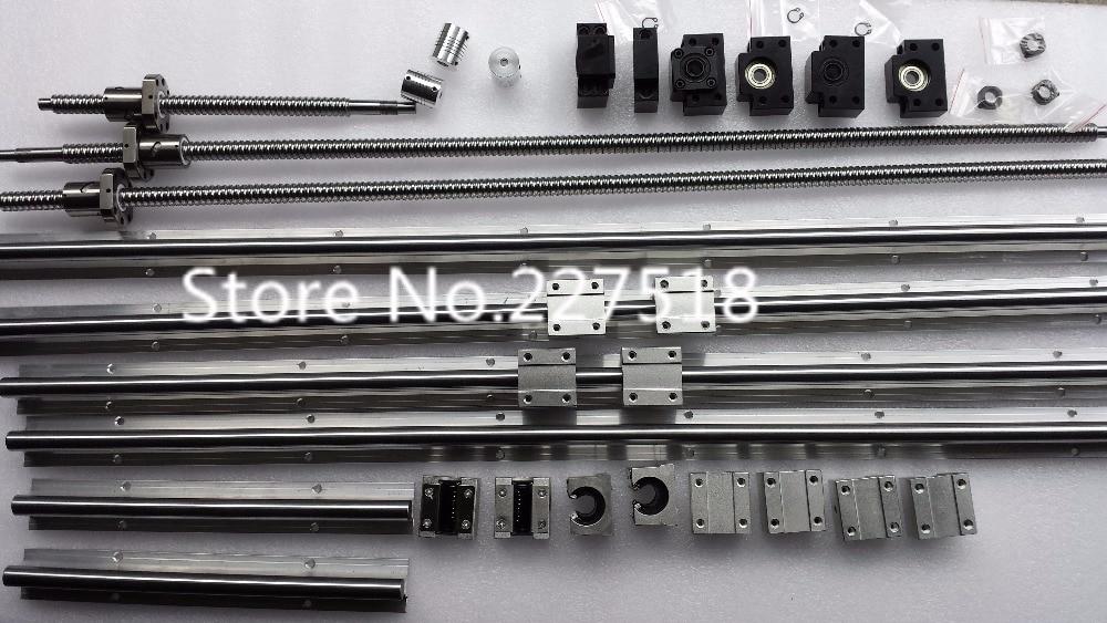 6 sets linear rail SBR16-400/700/800mm+SFU1605-350/600/750/750mm screw+3sets FK12/FF12+4 1605 holder+4 D25-L30-6.35*10mm Couple 6 sets linear rail sbr16 l200 600 800mm sfu1605 200 600 800mm ball screw 3 bk12 bf12 3 dsg16h nut 3 d25 l30 6 35 10mm couple