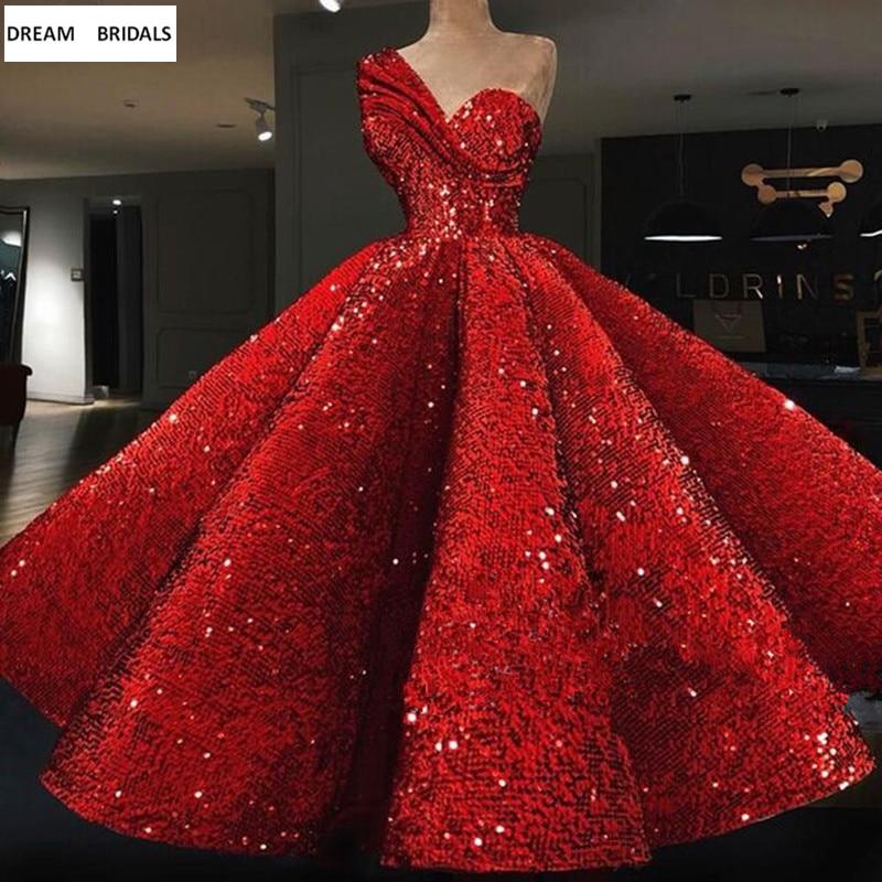 Red Sequined Elie Saab Arabic Formal   Evening     Dresses   Long Abendkleider 2019 One-Shoulder Ruffles Ball Gowns Prom   Dresses
