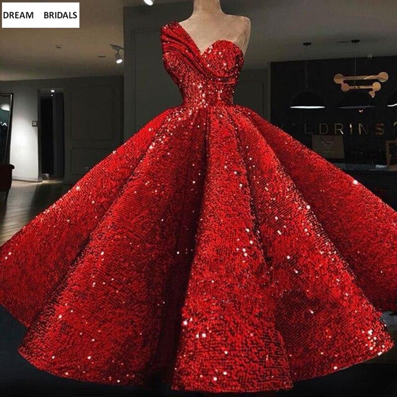 Rouge paillettes Elie Saab arabe robes de soirée formelles Long Abendkleider 2019 une épaule volants robes de bal robes de bal