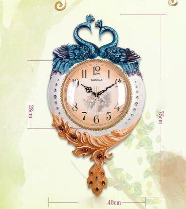 Творческий декоративные часы Павлин Гостиная немой творческой Книги по искусству настенные часы моды современный декоративный настенный