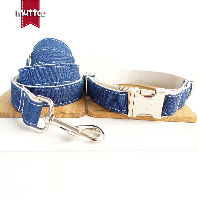 MUTTCO retailing special self-design dog collar THE WHITE JEAN stripe dog collars and leashes set 5 sizes UDC017